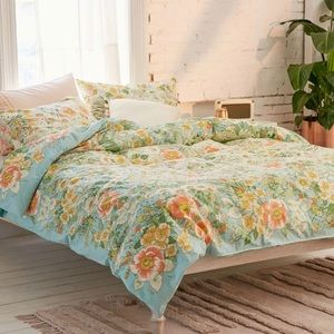 Urban Outfitters duvet cover floral mint blue TXL